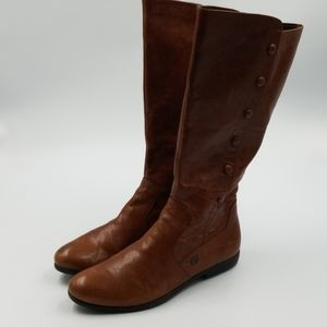 Born Brown Leather Riding Calf Boot